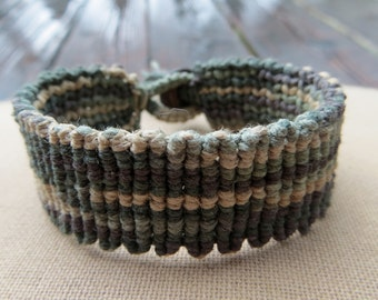 Earthy Psychedelic Hemp Cuff - Knotted Macrame Bracelet - Camoflauge