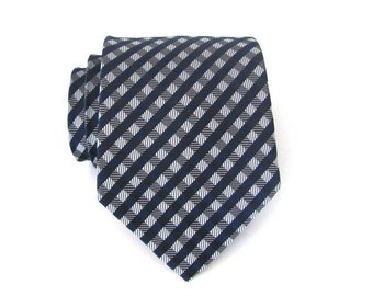 Mens Tie. Necktie. Navy Blue and Gray Checkers Men's Tie