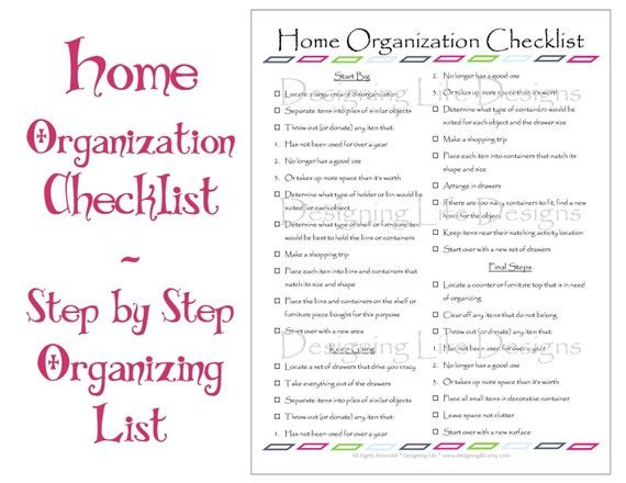 Home Organization Checklist Pdf Printable Basic By