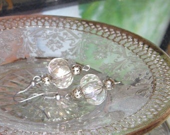 CLEARANCE Silver and opalescent glass bead earrings