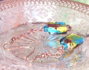 Clearance Copper, brown, green and blue stunning  beaded drop earrings