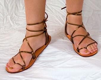 BELLA CARIBE  Bronze Metallic Leather Lace Up Sandals