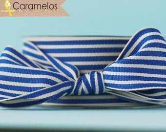 Blue and Cream Stripe Grosgrain Ribbon