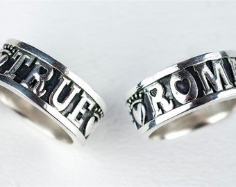 Custom Personalized Ring Wedding Ring Band Name True Romance