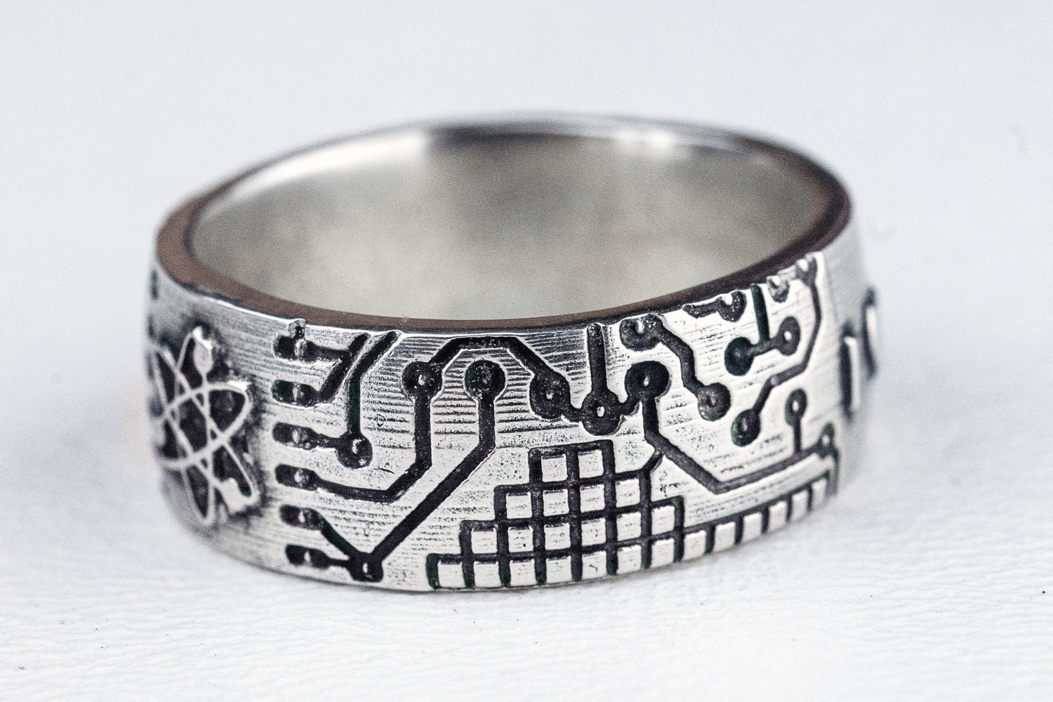 circuit board ring atom fathers day band jewelry sterling
