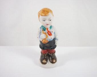 Vintage 30s Porcelain Boy With Horn Japan Figurine