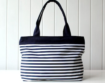 Hey Sailor.. Navy and White Stripes Tote Bag / Beach Bag / ZIPPER TOP CLOSURE / Diaper Bag, Laptop Bag, Purse, Large, Medium / Spring Summer