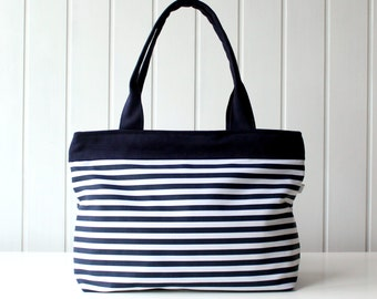 Items similar to Navy and White Stripes Tote Bag, Beach Bag ...