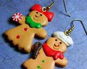 STORE CLOSING SALE Gingerbread Man Earrings