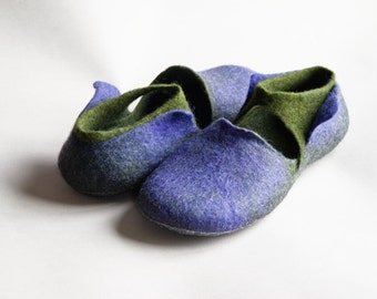 Natural felted wool slippers in purple and green EASE Women house shoes slippers