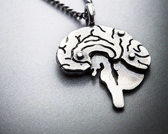 Mini EINSTEIN-silver brain necklace