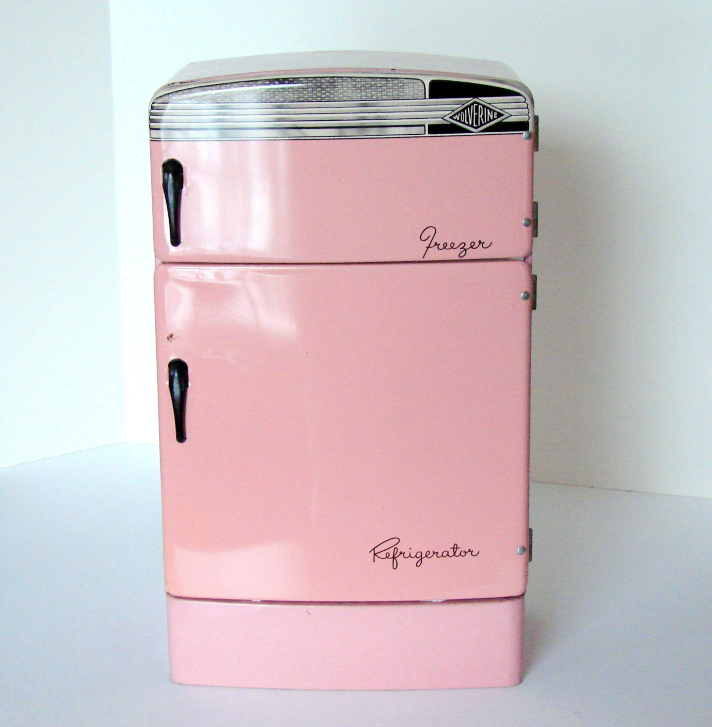Wolverine Vintage Pink Tin Refrigerator by sassboxclassics on Etsy