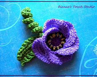 INSTANT DOWNLOAD Tutorial instructions in PDF format. Flower no 62 with a leaf and curly