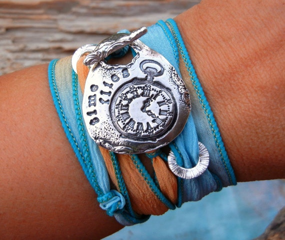 Steampunk Jewelry, Steampunk Clock Bracelet, Pocket Watch Jewelry, STEAMPUNK Clock Parts Bracelet, Steampunk Time Flies Silk Wrap Bracelet
