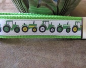 Key Fob made with Green Tractor Grosgrain Ribbon on Lime Webbing, Ready to Ship, Wristlet, Key Ring