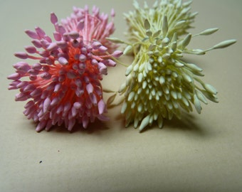 New Item -- One bundle of Double Sided Matte Pointed Tips Floral Stamen  -- Ivory OR Pink (You Pick The Color)