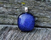 Violet Blue Dichroic Fused Glass Pendant  Petite Size Jewelry