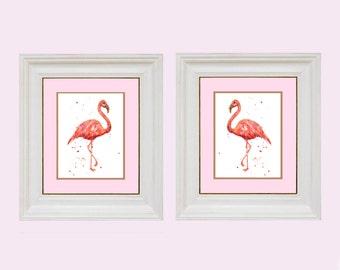Pink FLAMINGO Prints, Housewarming gift, 8x10 print, ready to frame, Flamingo Print, watercolor birds