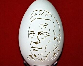 Hand Carved Goose Egg Portrait - Johnny Cash - the Man in Black
