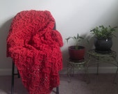 SALE XL Red Crochet Cotton Throw Blanket - Red Crochet Afghan - Red Crochet Throw - Ready to Ship!
