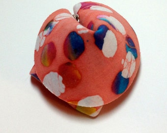 Peach Polka Dot Batik Fabric Fortune Cookie.  Gift or favor.  Personalized.