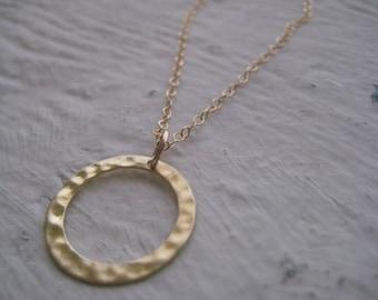 Gold Ring Necklace Gold Hammered Link