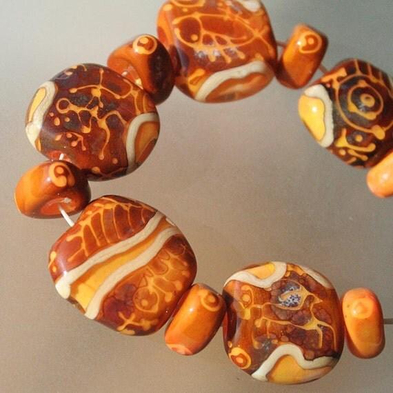 Petroglyphs - Handmade Lampwork Glass Beads Set (SRA)