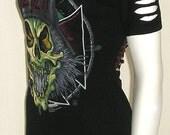 Slayer Tshirt Corset Top Slashed Sleeves Upcycled DIY 8/10 Bnwt