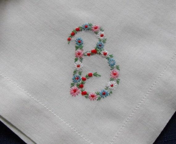 Monogram b hankie hanky embroidered flowers by