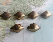 6 vintage mid century distressed brass metal knobs includes hardware