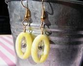 Lemon quartz, freshwater pearl and Swarovski crystal earrings