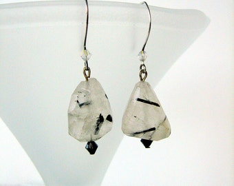 Earrings- Tourmalinated Quartz- Agate-Sterling silver- Metropolitan frost
