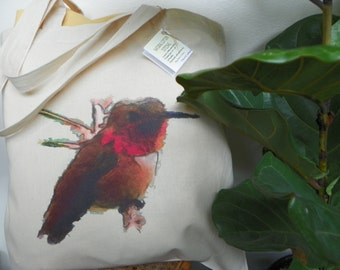 Watercolor Hummingbird Cotton Tote Bag - Cottage Chic
