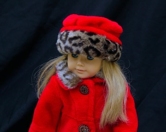 "Girl Doll American Designer Clothes Coat and Hat Set for 18"" Doll Fits 18"" Doll Clothes Handmade"