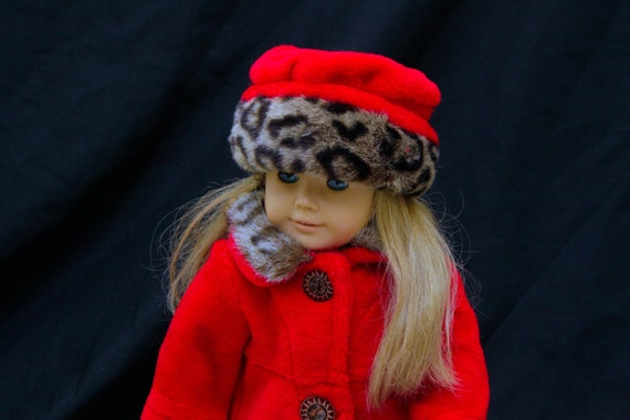 "Doll Clothes Red and Leopard Faux Fur Coat and Hat Set for 18"" Doll"