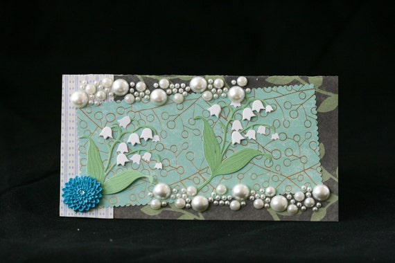 Checkbook Cover  Clear Vinyl Handmade Lily of the Valley