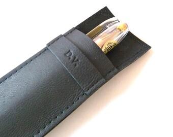 Leather Pen Case, Black (2 pens)