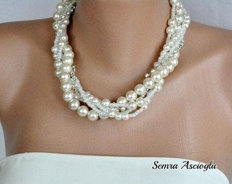 3  Sets Bridal Glass Pearl Necklaces , Necklace and  Earrings Set,