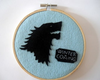Game of thrones emblems Stark House Embroidery Hoop.