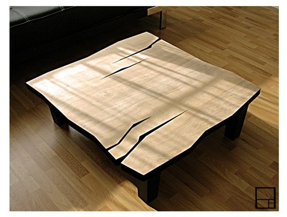 MSTRF // AD Natural // Coffee Table // Natural Lacquer Finish // 32 x 32 x 15H // Solid Wood Tapered Legs w/ Black Lacquer Finish