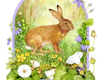 English Hare with wild flowers, Large Premium edition print.