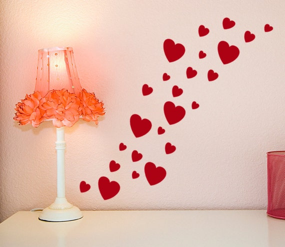Wall Decoration For Wedding Anniversary : Heart decals valentine decor geometric wall by