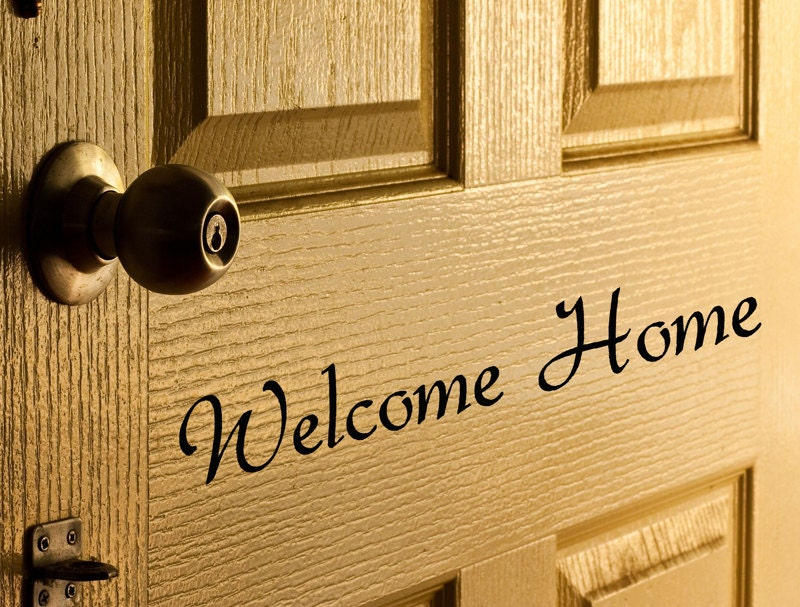 Welcome home door decal vinyl letters for front door words - Used exterior doors for sale near me ...