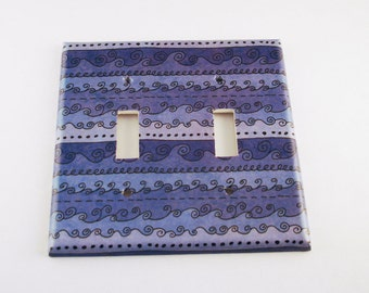 Light Switch Covers Switchplate Wall Decor  Double Switch Plate in  Funky Blue Waves   (093D)
