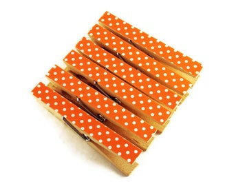 Altered Clothespin  Clips  Decorative  Wooden Clothes pins in Tangerine Polka Dots