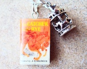 Catcher in the Rye Necklace with Book Charm and Metal Carousel Charm