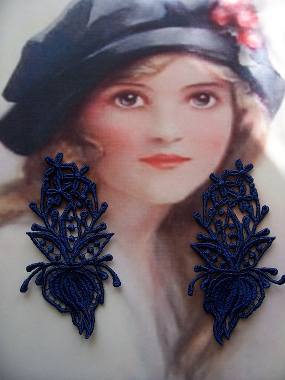 Navy Venice Lace Appliques For Lace Earrings/Jewelery
