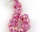 10 Handmade Teardrop Lampwork Glass 13 mm Boro Beads, Luster series Malibu Barbie (22251).