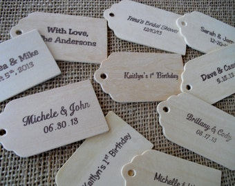 Personalized Wood Favor Tags - SET OF 10 - Item 1531