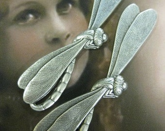 Silver-Ox Plated Art Deco Style  Large Dragon Fly Stampings  Bent with 2 Holes or Straight 543SOX x2